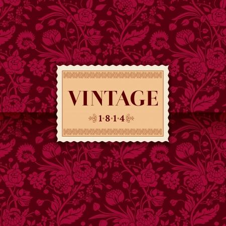 regency: Burgundy card with vintage flower bouquets carnations and chrysanthemums Illustration