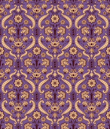 Seamless ornamental vintage pattern with stylized flowers. Vector