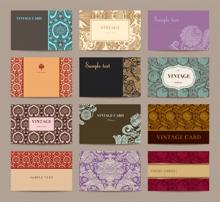 Set of vintage business cards. Twelve pieces. Фото со стока - 24965809