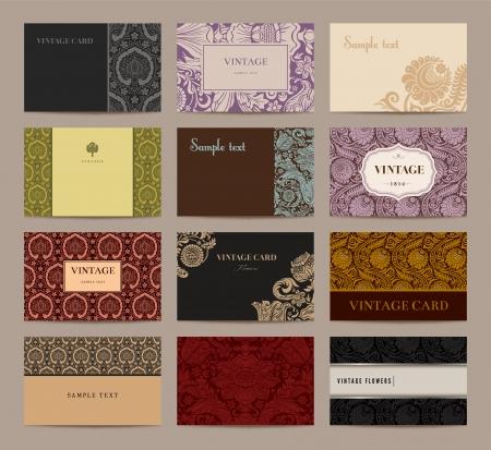 Conjunto de tarjetas de visita de la vendimia. Doce piezas. Foto de archivo - 24965810