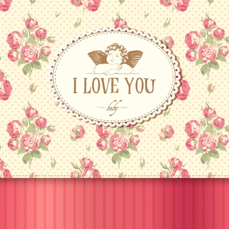 Vintage card with roses in the background and Cupid. Vector