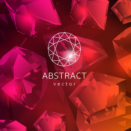 gems: Abstract red background with glowing gems, garnets and rubies