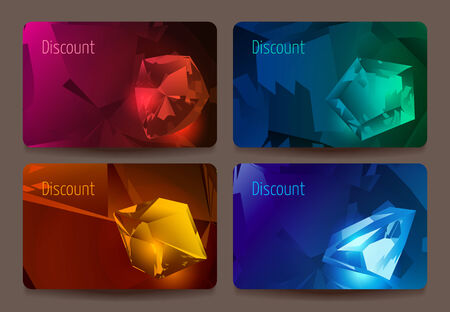 opal: A set of discount cards with precious stones. Ruby, emerald, topaz, opal