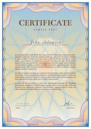 guilloche pattern: Vector template of detailed certificate with guilloche elements using Illustration