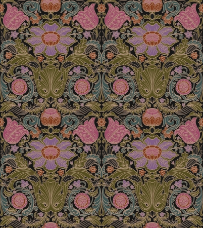 定型化された花のシームレスなバロック ビンテージ パターン  イラスト・ベクター素材
