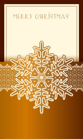 gold textures: Beautiful Christmas card with lace vintage snowflake. Brown with gold.
