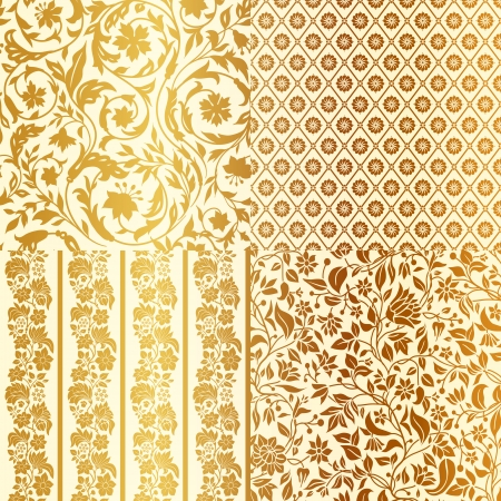 Set of Vintage Floral seamless ornate patterns. Four in One. Gold with beige Vector