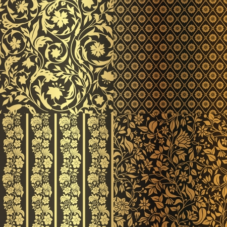 Set of Vintage Floral seamless ornate patterns. Four in One. Gold with Black Фото со стока - 24965679