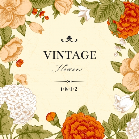 coral: Vintage card with flowers