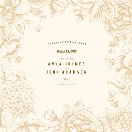 Cadre élégant vintage avec diverses fleurs de jardin Banque d'images - 24965551