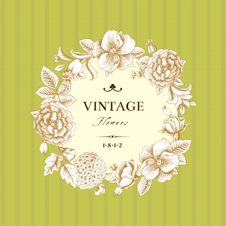 Beautiful card with a round wreath of different flowers of vintage garden