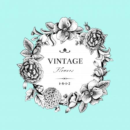 vintage: Hermosa tarjeta con una corona redonda de diferentes flores de jardín de la vendimia