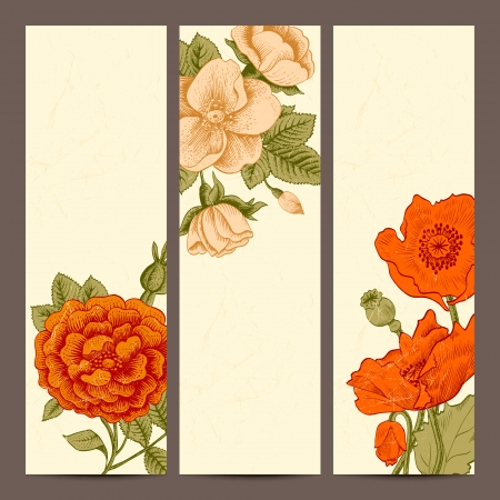 A set of vertical banners with vintage flowers Vector