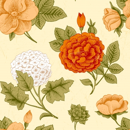 dull: Seamless pattern with vintage flowers