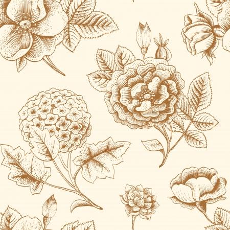 Seamless pattern with vintage flowers Ilustração Vetorial