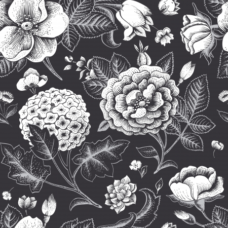 vintage floral: Beautiful vintage floral seamless pattern