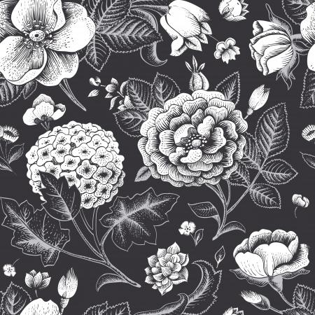 Mooie vintage naadloze bloemmotief Stock Illustratie