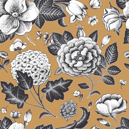 아름 다운 빈티지 꽃 원활한 패턴 일러스트