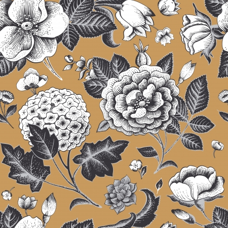 gray flower: Beautiful vintage floral seamless pattern