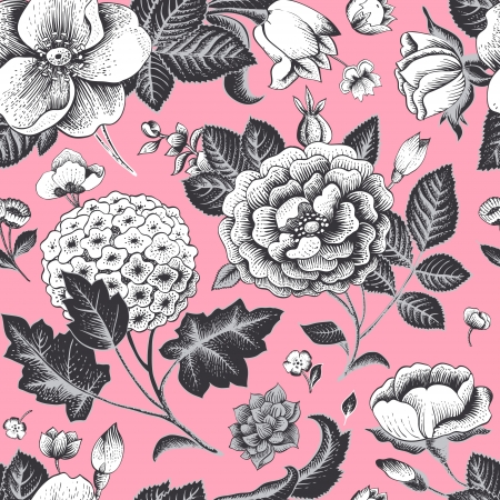 botanical drawing: Beautiful vintage floral seamless pattern