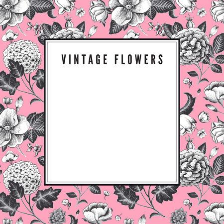 Elegant Vintage card with various garden flowers Иллюстрация
