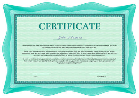 Horizontal vector certificate template with guilloche elements. Green with emerald Illustration