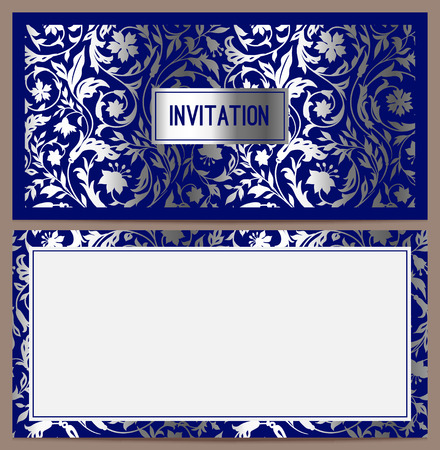florid: Horizontal luxury invitation with a pattern of stylized field of silver colors on a blue background  Vector illustration  Set