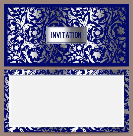 bodas de plata: Invitaci�n de lujo horizontal con un patr�n de estilizada campo de colores de plata sobre un fondo azul Vector ilustraci�n Conjunto Vectores