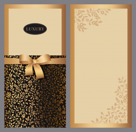leaf curl: Set of vertical invitations to the background of silhouettes of small flowers  Black and gold with brown bow  Vector illustration  Illustration