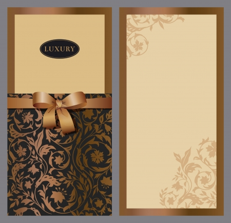 difficulty: Set of vertical invitations with vintage background of stylized wildflowers  Black and gold with brown bow  Vector illustration