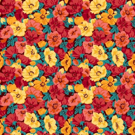 vintage floral: Floral pattern seamless retro