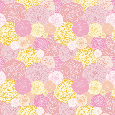 Seamless pattern from the drawn light roses Illustration