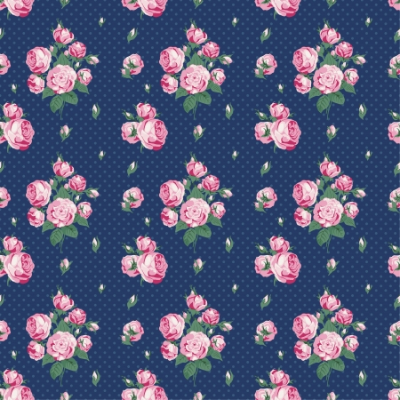 Dark blue seamless pattern in peas with roses Vector