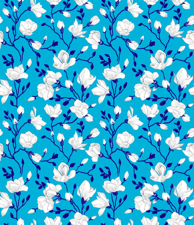 Seamless blue pattern with a blossoming magnolia Vector
