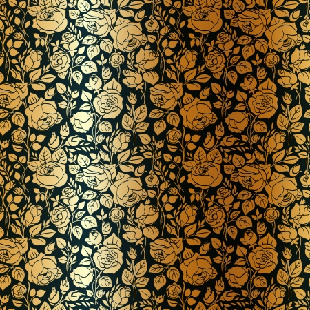 solemn: Gold vintage seamless pattern with garden roses