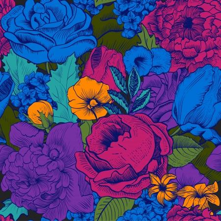 緑豊かな色とりどりの花でシームレスなビンテージ パターン
