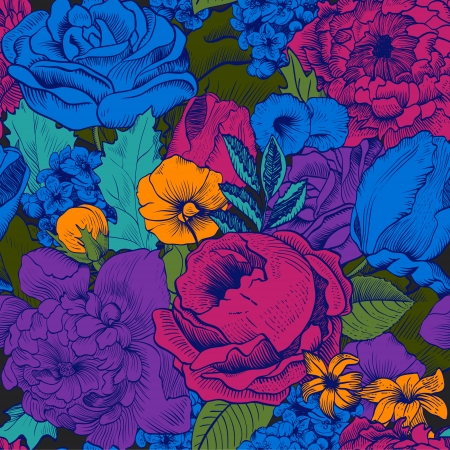 Seamless vintage pattern with lush colorful flowers Фото со стока - 25024732