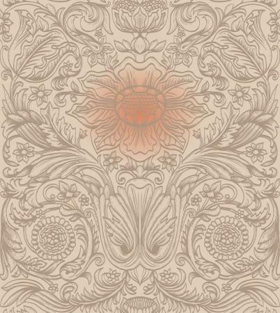 refine: Vintage brown seamless pattern baroque Illustration