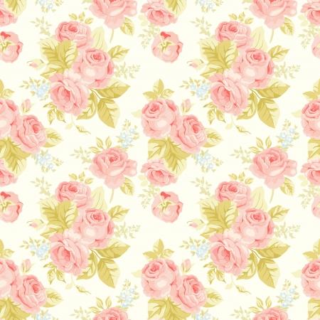 blumen verzierung: Nahtlose Muster mit Vintage Rosen Illustration