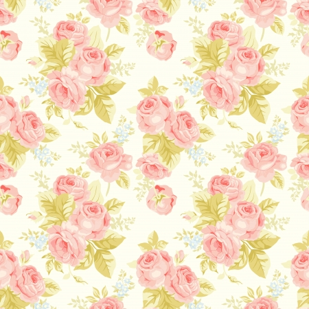 rose bush: Seamless pattern with vintage roses