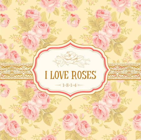 Postal o de fondo con rosas de la vendimia Ilustración de vector