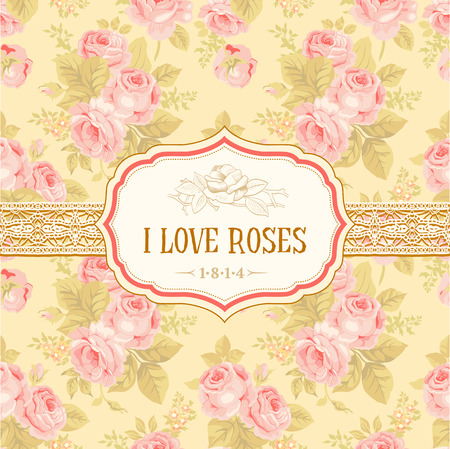 retro art: Postkaart of achtergrond met vintage rozen