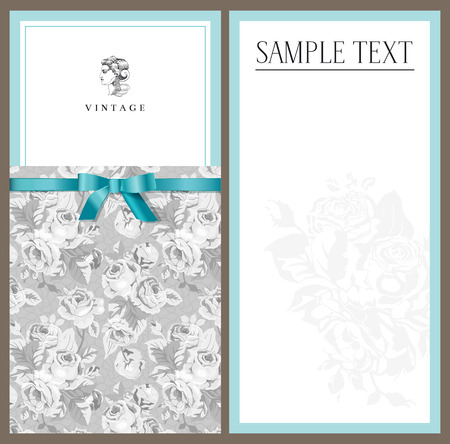 Mint invitation with a gray background with roses