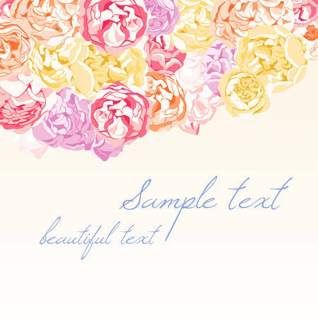 Card with colorful flowers of peonies and roses Vector