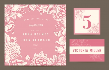 wedding guest: Set backgrounds to celebrate the wedding. Invitation card, table number, guest card. Vector illustration.  Flowers roses, dog-rose hydrangea in pink color.