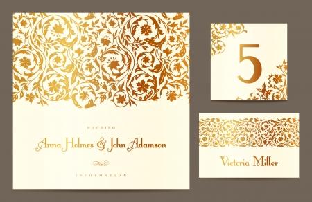 beige stof: Set achtergronden om de bruiloft te vieren. Uitnodigingskaart, lijst aantal, gastenkaart. Vector illustratie. Gouden gestileerde elementen van het veld bloemen op een beige achtergrond.
