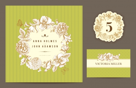 Invitation card, table number and guest card.  Vector