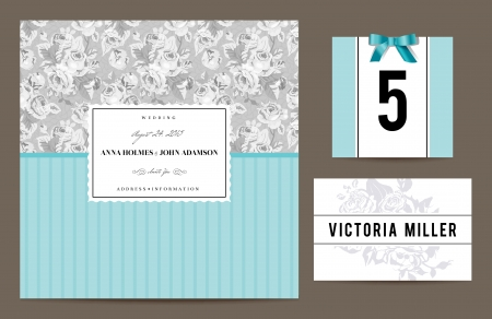 Set backgrounds to celebrate the wedding. Invitation card, table number, guest card. Vector illustration. Gray pattern with bouquets of roses and mint backgrounds. Vector