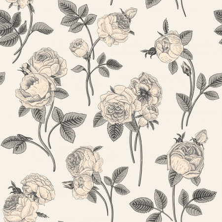 flower sketch: Vintage seamless pattern with bouquets of flowers blooming garden Victorian roses