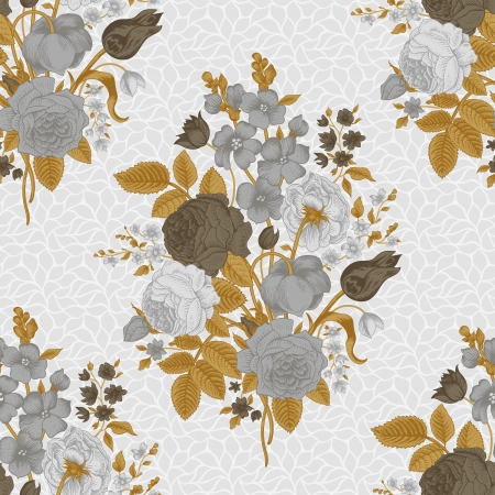 Seamless vintage pattern with Victorian bouquet of gray flowers on a white background Illustration